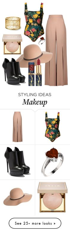 """""""Untitled #554"""" by hey-there-its-kylah on Polyvore featuring FAUSTO PUGLISI, Cushnie Et Ochs, Overland Sheepskin Co. and Stila"""