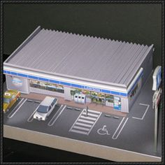 Simple Convenience Store For Diorama Free Building Paper Model Download - http://www.papercraftsquare.com/simple-convenience-store-diorama-free-building-paper-model-download.html
