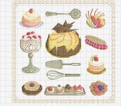 Disegno per punto croce di dolci vari