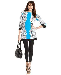 Style Top, Three-Quarter-Sleeve Printed Tunic - Tops - Women - Macy's