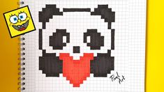 Easy Perler Bead Patterns, Cross Stitch Patterns, Pixel Art Coeur, Image Panda, Image Pixel Art, Modele Pixel Art, Pixel Drawing, Pix Art, Graph Paper Art