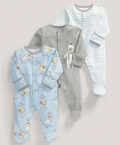 Boys Essentials Three Pack of Blue Bears All-in-Ones - 3 For 2 Baby Basics - Mamas & Papas