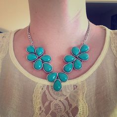 NWT. Turquoise and silver necklace/earrings. Beautiful set. Details as pictured above. Jewelry Earrings
