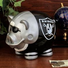 Oakland Raiders Large Resin Thematic Piggy Bank