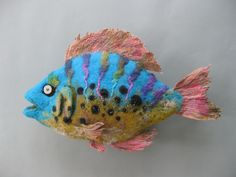 Tropical felt fish, amazing needle felt creation by Deborah C. Pope
