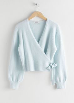 Wrap Cardigan - Light Blue - Cardigans - & Other Stories Cardigan Outfits, Wrap Cardigan, Blue Cardigan, Light Blue Sweater, Light Blue Top, Fashion Story, Fashion Outfits, 2000s Fashion, Modest Fashion
