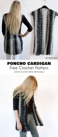 Poncho Cardigan Free Crochet Pattern Sizes from S to are available, so everyone will find her perfect one. This poncho is made from Lion Brand Scarfie Katia Shadow Yarn, but you can use any other bulky yarn of similar weight and thickness. Crochet Cardigan Pattern, Crochet Tunic, Easy Crochet Patterns, Crochet Clothes, Crochet Vests, Crochet Edgings, Crochet Sweaters, Freeform Crochet, Crochet Dresses