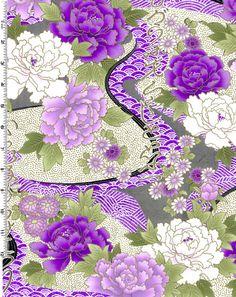 Fat Quarter Exotic Garden (Oriental) Cotton Quilting Fabric - Purple