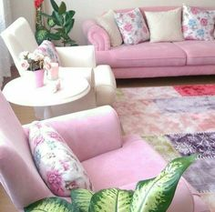 Living Room - Thrifty Home Decor Living Room Designs, Living Room Decor, Living Rooms, Pastel Interior, Pastel Decor, Pink Sofa, Modern Furniture, Love Seat, Shabby Chic