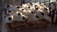 ***** Authentic Black Forest Cake (Schwarzwald Kirsch Kuchen), baked in 13x9, sprinkled with cherry juice in place of kirsch (from thawed cherries), next layer filling, following by cherries, then frosting, then choc shavings