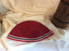 Viking, Norse, Anglo Saxon, red linen, with red, black, and white inkle loom weaving trim