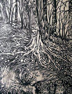 """Mother Earth"" Linocut by Erik K. Nolan http://www.erinknolan.com/ Tags: Linocut, Cut, Print, Linoleum, Lino, Carving, Block, Woodcut, Helen Elstone, Trees"