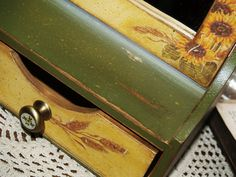 Jewelry box with a mirror  Madam sunflower by VintageBoutiqueshope, $60.00