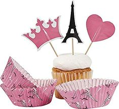 Amazon Com Fun Express Perfectly Paris Baking Cups With Picks