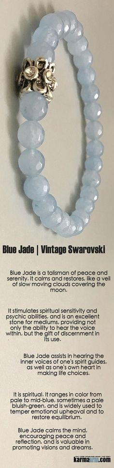 #BEADED #Yoga #BRACELETS ♛ #Blue #Jade calms the mind, encouraging #peace and reflection, and is valuable in promoting #visions and #dreams. #swarovski #Chakra #gifts #her #Stretch #Womens #jewelry #gifts #Tony #Robbins #Eckhart #Tolle #Crystals #Energy #gifts #Handmade #Healing #Kundalini #Law #Attraction #LOA #Love #Mala #Meditation #prayer #Reiki #mindfulness #wisdom #Fashion #birthday #Lucky #Spiritual #Buddhist #Stacks #Fertility #BoHo #Beach