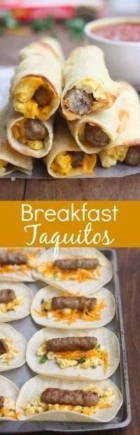 Breakfast Taquitos... Scrambled eggs, cheese and sausage links rolled and baked inside a corn tortilla. These Egg and Sausage Breakfast Taquitos are simple and delicious! Freezer friendly for a quick breakfast!