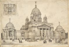 Project for the Facade of the Tate Gallery, London, Sidney Robert James Smith, circa 1893 Neoclassical Architecture, Renaissance Architecture, Baroque Architecture, Classic Architecture, Architecture Drawings, Historical Architecture, Ancient Architecture, Beautiful Architecture, Architecture Details
