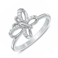 Zales Diamond Accent Tilted Butterfly Midi Ring in Sterling Silver 979XK