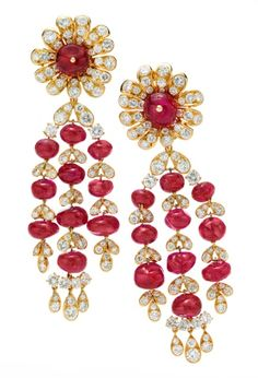 A Pair of Ruby and Diamond Ear Pendants, by Van Cleef & Arpels, circa 1969 Available at FD Gallery. www.fd-inspired.com