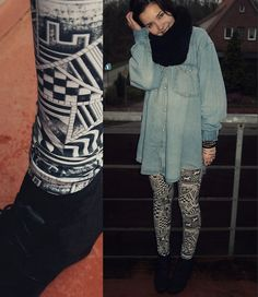 #leggings printed black and white