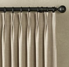 Textured Belgian Linen French-Pleat   Linen   Restoration Hardware (Two fold only and typically it is done with three)