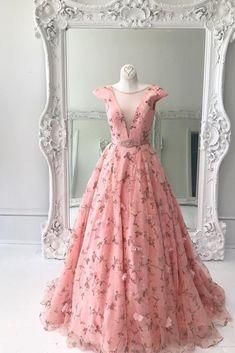 Princess A Line Floral Pink Cap Sleeves Long Prom Dress Prom Dresses, Prom Dresses Long, Prom Dresses A-Line, Prom Dresses Lace, Prom Dresses Pink Prom Dresses 2020 Prom Dresses Long Pink, A Line Prom Dresses, Cheap Bridesmaid Dresses, Ball Dresses, Ball Gowns, Formal Dresses, Dress Prom, Dress Long, Elegant Dresses