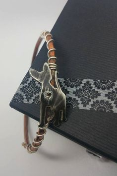 Silver & Copper Sphynx Cat Bangle