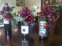 Wine Bottle centerpieces : wedding Wine Bottle, except doing custom lables or photos of the couple...