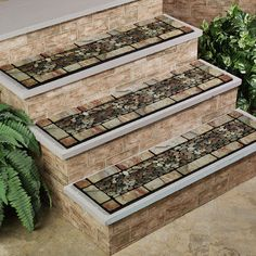 Decorative Outdoor Stair Treads | Home Veranda Stone II Stair ...