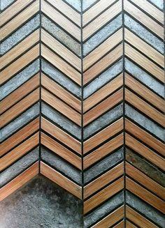 Wood and concrete wall pattern at Yeyo Restaurant, Jakarta #naturalarearugs.com #flooring
