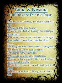 Yama and Niyama, the Dos and Don'ts of Yoga