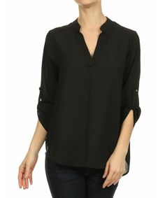 Le Lis Collection Black Roll-Tab Sleeve Notch Neck Top | zulily