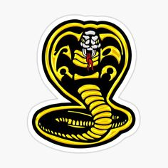 cobra kai symbol black and gold • Millions of unique designs by independent artists. Find your thing. Logo Sticker, Sticker Design, Cobra Kai Dojo, Cobra Snake, Art Painting Gallery, Plastic Stickers, Personalized Water Bottles, Iphone, Yellow Black