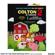 PARTY AT THE FARM BIRTHDAY INVITATION Children's Boutique, Boutique Ideas, Farm Birthday, Birthday Parties, Farm Party Invitations, Animal Skulls, I Party, Pink And Green, Prints