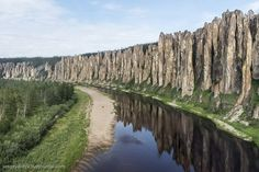 Lena Pillars is a complex of vertically elongated rocks up to 100 meters height piled along the banks of the Lena River in Yakutia Republic of Russia