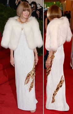 Anna Wintour in Prada (with a little homage to Elsa Schiaparelli) at the Met Gala 2012. you go girl!