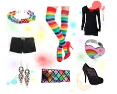 """Rainbow Outfit Set"" by costumelicious on Polyvore; our rainbow stockings make a great fashion statement, whether you're marching in a Pride parade or if you just freakin love rainbows!    #Pride #Rainbow"