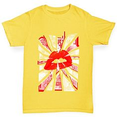 Twisted Envy Urban City Lips Boys Yellow TShirt Age 34 >>> More info could be found at the image url.(This is an Amazon affiliate link)