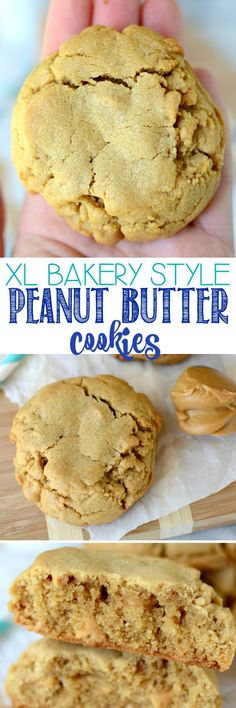 XL Bakery Style PB Cookies - these peanut butter cookies are HUGE and filled with peanut butter chips. We inhale these faster than I can make them! (Bakery Style Chocolate Cupcakes)