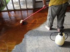 stained concrete screen porch