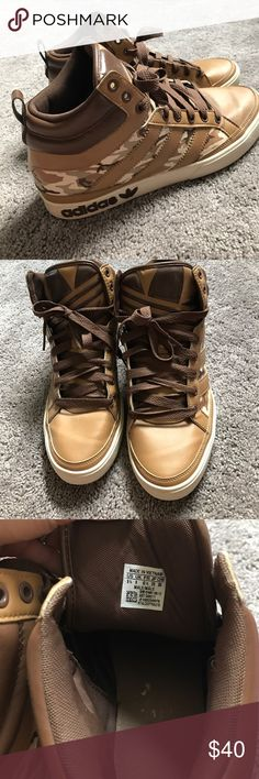 high top Adidas camo sneaker Gently worn. Mens 9.5 Adidas brown camo sneaker Adidas Shoes Sneakers