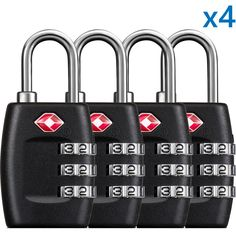 "BG TSA Travel Luggage Suitcase Lock, 3 Digit Combination Re-settable Code, Padlock, Black, NEW BG-TL01 ""2 Pairs = 4 pcs"" SpecificationsCombinationRese... #combination #resettable #digit #luggage #travel #lock"