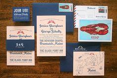 Jessica + George's Travel-Inspired Maine Wedding Invitations   Design + Photo: Parrott Design Studio