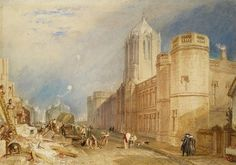 Ashmolean Museum: J M W Turner is thought to have been born #onthisday in 1775. Six of his stunning drawings and watercolours are on display in our #GreatBritishDrawings exhibition, including this 1832 view of Christ Church College, Oxford. On the left of the scene Cardinal Wolsey's almshouses are shown being demolished, and on the right you can see dons, dogs and passers-by.