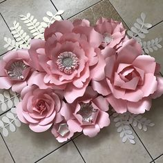 Svg petal 5 paper flower template flat center for cricut and super pink mightylinksfo
