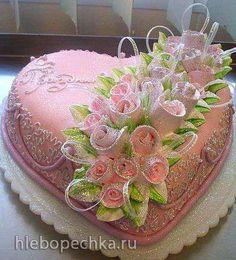 Banana and pecan cake - HQ Recipes Birthday Cake Cookies, Heart Shaped Cakes, Heart Cakes, Fondant Cakes, Cupcake Cakes, Cupcakes, Gorgeous Cakes, Pretty Cakes, Pecan Cake