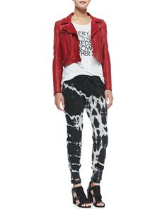 Pam & Gela Cropped Leather Jacket, Frankie Destroyed Muscle Tee & Betsee Tie-Dye Sweatpants