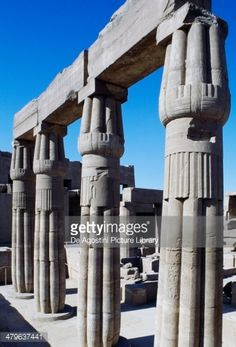 Columns with lotus-shaped capitals, Festival Hall of Tuthmosis III, Karnak Temple Complex, Luxor, Thebes (Unesco World Heritage List, 1979), Egypt, Egyptian civilization, New Kingdom, Dynasty XVIII