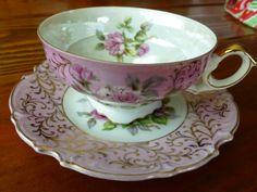 Pink Iridescent Floral Lefton Tea Cup and saucer