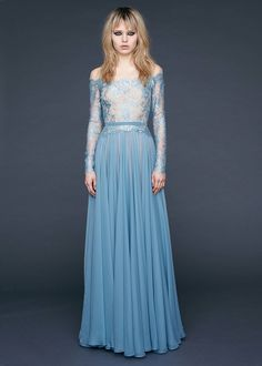 Reem Acra Pre-Fall 2016: I love this color blue! The chiffon skirt is lovely with the sheer floral lace off shoulder bodice.